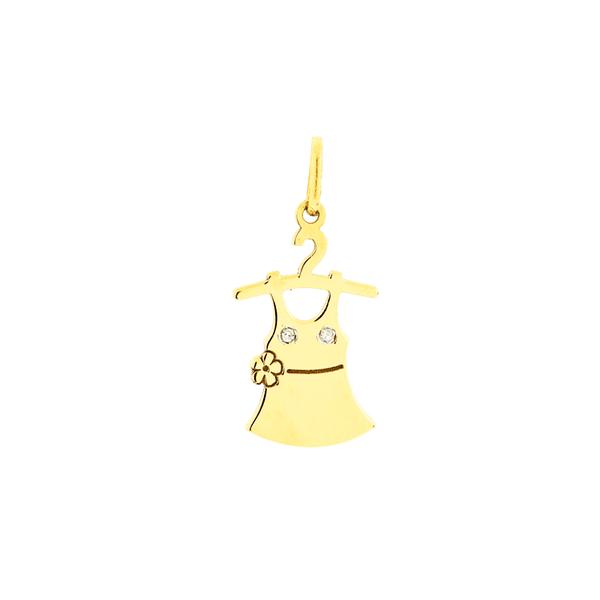 Pingente de Ouro 18K Vestido de Menina no Cabide