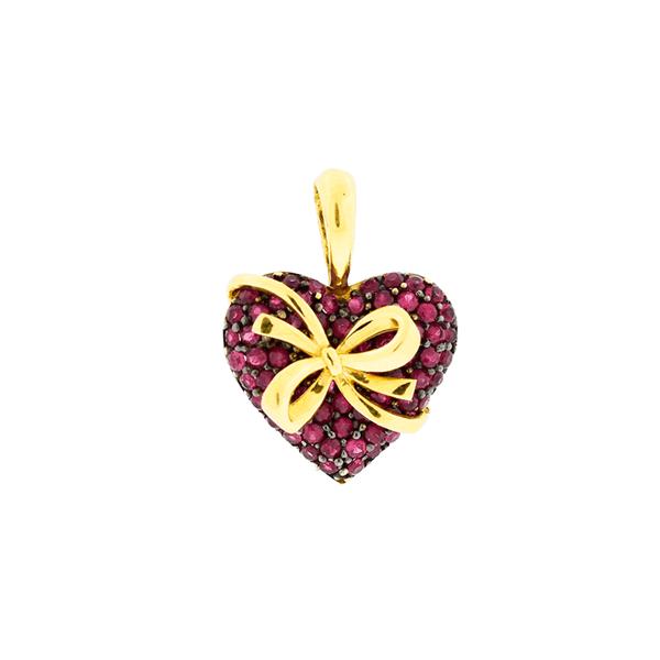 Pingente de Ouro 18k Coração com Rubi Vermelho