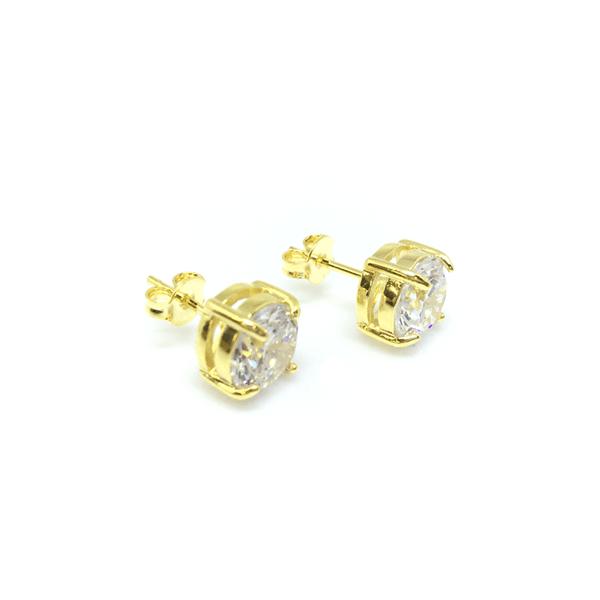 Brinco Ponto de Luz Grande 7 mm Semijoia Banho de Ouro 18K Zircônia