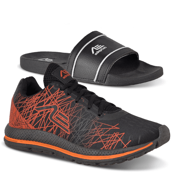 Kit Tênis Spider e Chinelo Adaption Preto Laranja