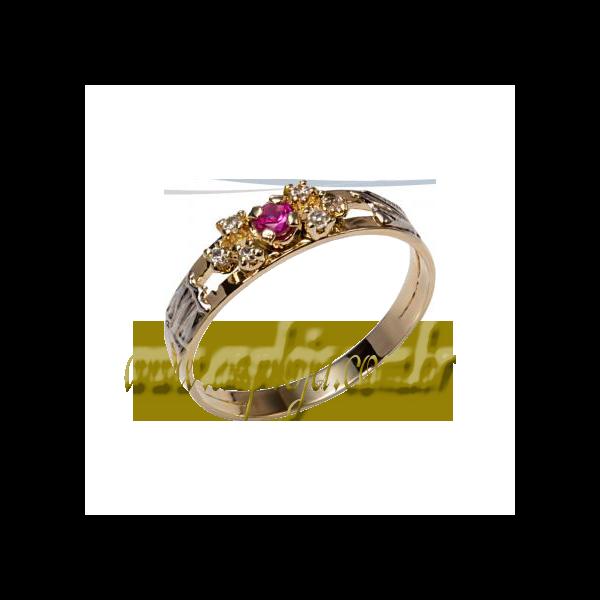 Anel de Formatura em ouro amarelo 18K 750 com pedras laterais em diamantes-ASP-AF-109