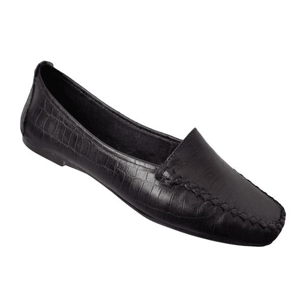 Mocassim Feminino em Couro cor Preto Croco costura preta