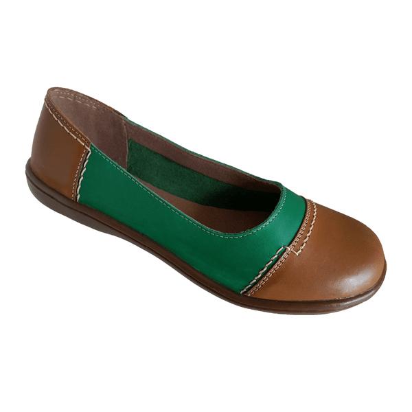 Sapatilha Feminina em Couro cor Verde / Caramelo bico redondo