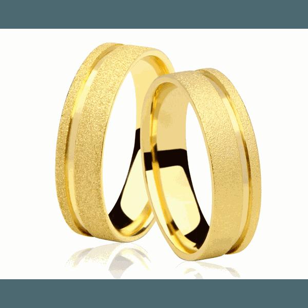 Alianças de casamento e noivado em ouro 18k 750 anatômica com fosco diamantado 5,00 mm