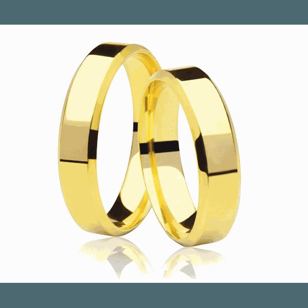 Alianças de casamento e noivado em ouro 18k 750 reta chanfrada 5 mm