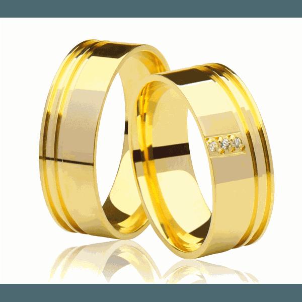 Alianças de casamento e noivado em ouro 18k 750 frisada e anatômica com 03 diamantes 7 mm