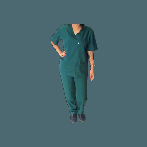 Conjunto Cirúrgico Unissex em Microfibra Verde Botanical plus size
