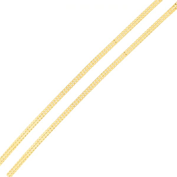 Corrente De Ouro 18k Veneziana Dupla De 1,0mm Com 40cm