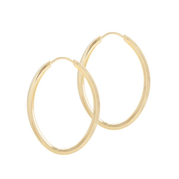 Brinco De Ouro 18k Argola Oval De 25mm