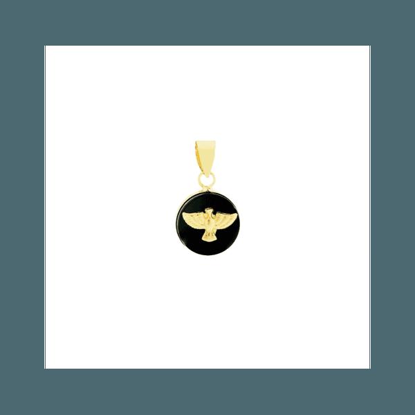 Pingente De Ouro 18k Onix Com Espirito Santo De 13mm