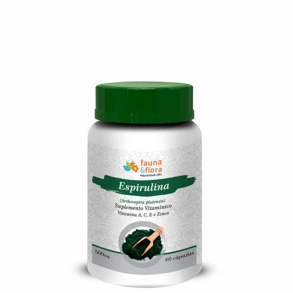 Espirulina Vitamina A, C, e e Zinco 500mg - 60 cápsulas