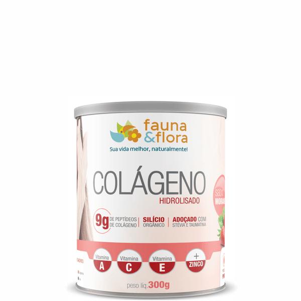 Colágeno Hidrolisado com Silício Orgânico zero Malto sabor Morango 300g