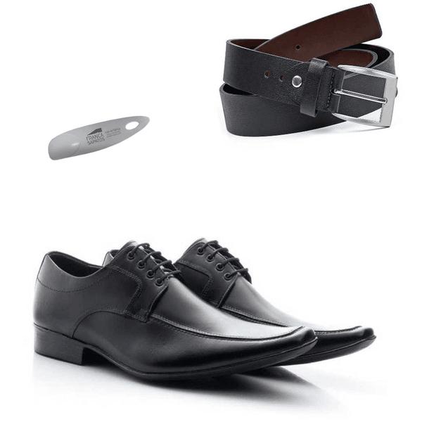 KIT 01 Par de Sapatos Preto + Cinto + Calçadeira