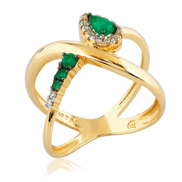 Anel com Pedras de Esmeralda e Brilhantes em Ouro 18K