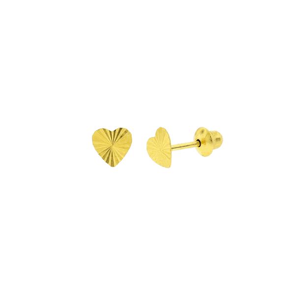 Brinco Infantil Coração Diamantado Ouro 18K