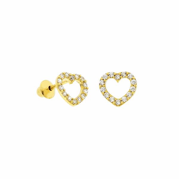 Brinco de Coração em Ouro 18K com Pedras Zircônias