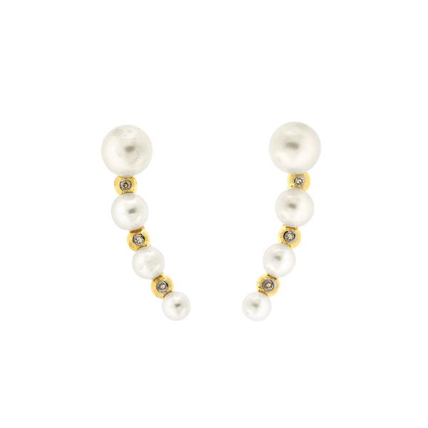 Brinco Ear Cuff de Pérolas com Brilhantes em Ouro 18K