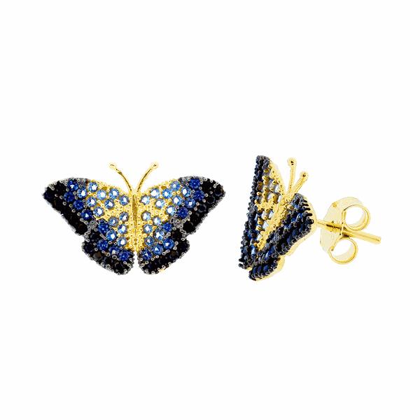 Brinco Borboleta Azul com Zircônias Ouro 18K