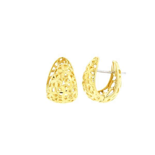 Brinco de Ouro 18K Detalhe Flores Diamantado Fecho Trava