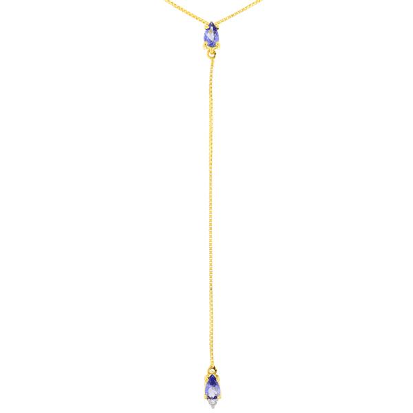 Gargantilha Gravatinha em Ouro 18K com Pedra de Tanzanita