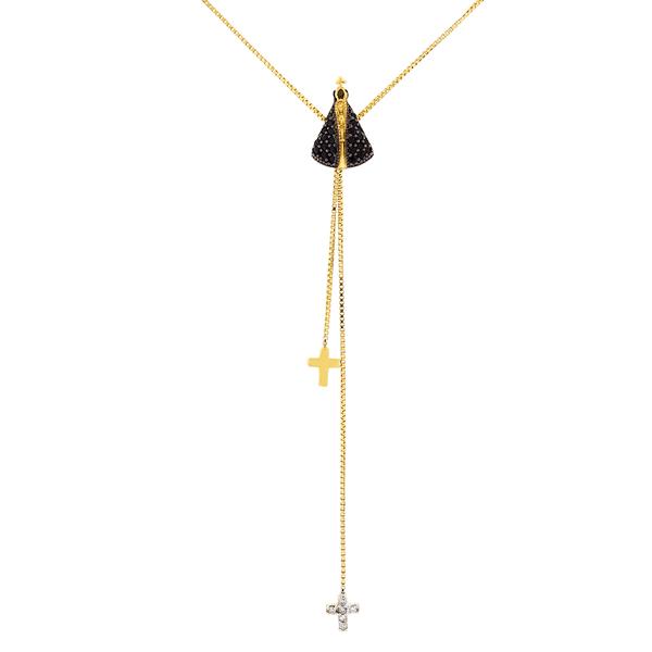 Gargantilha Gravatinha Ouro 18K Nossa Senhora Aparecida