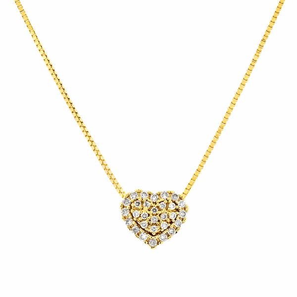 Gargantilha Coração de Brilhantes em Ouro 18K