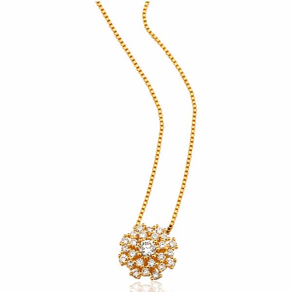 Gargantilha Veneziana Ouro 18K Pingente Buquê com Diamantes