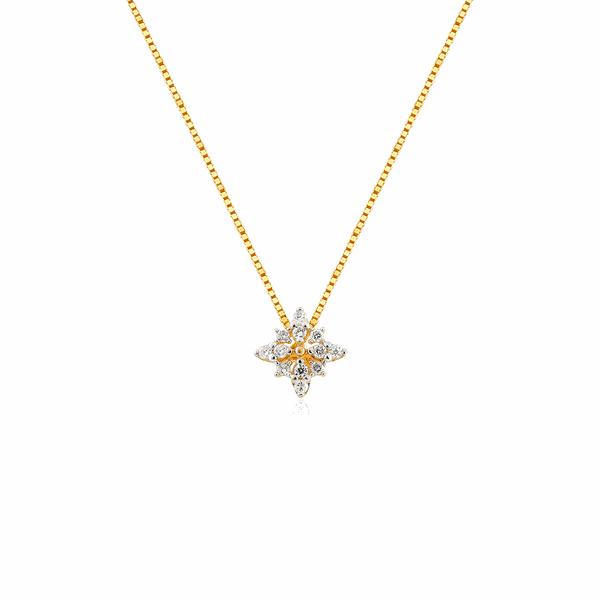 Gargantilha de Ouro 18K Estrela Cravejada de Brilhantes
