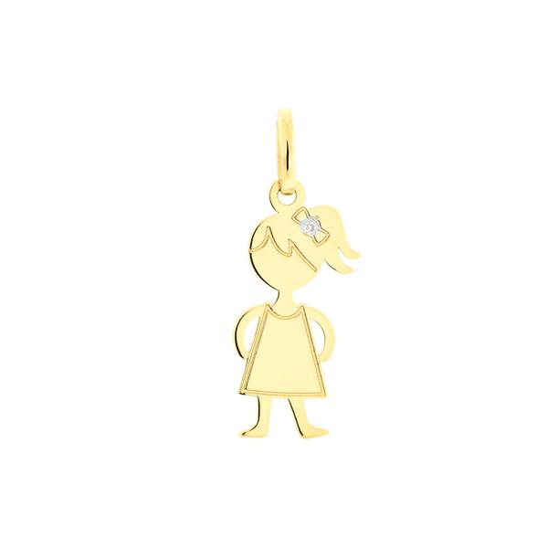 Pingente de Ouro 18K Menina Polida com Brilhante