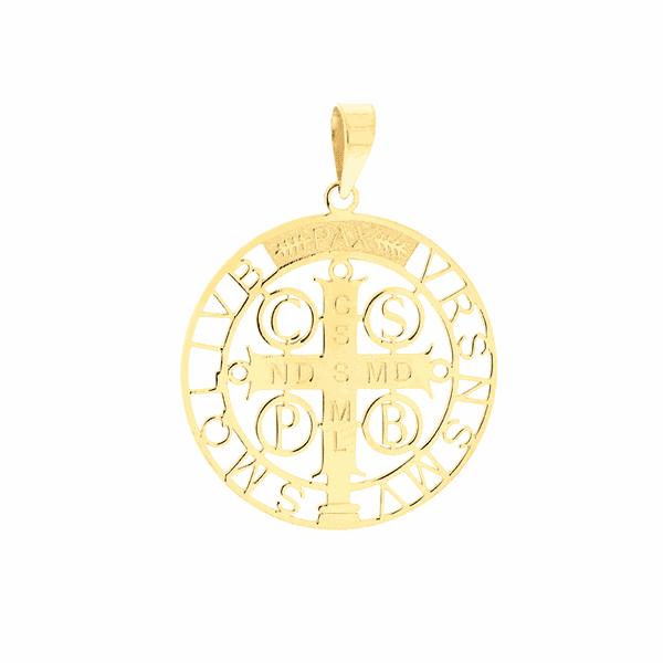 Pingente Cruz de São Bento em Ouro 18K Tamanho Médio
