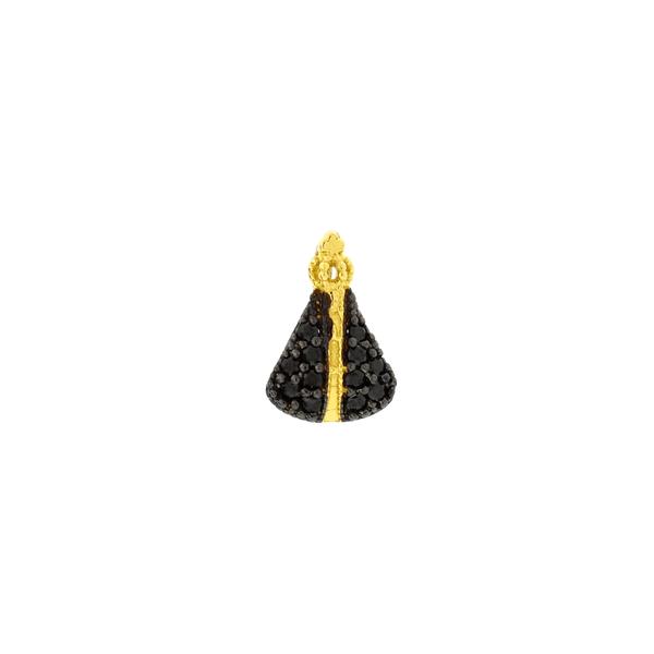Pingente Nossa Senhora Aparecida de Ouro 18K Zirconias Negras