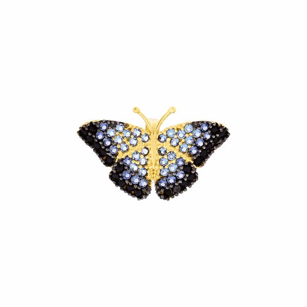 Pingente Ouro 18K Borboleta Pedra Zirconia Azul Pequeno