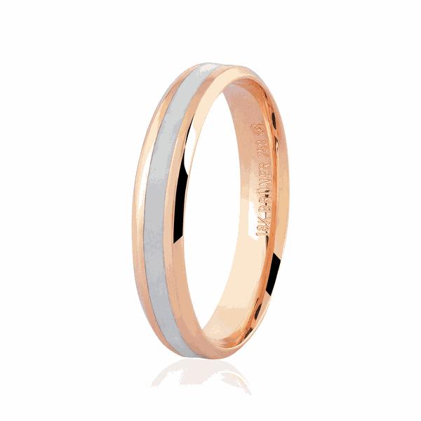 Alianças de Ouro Rosé 18K com Detalhe Pigmentado 4mm