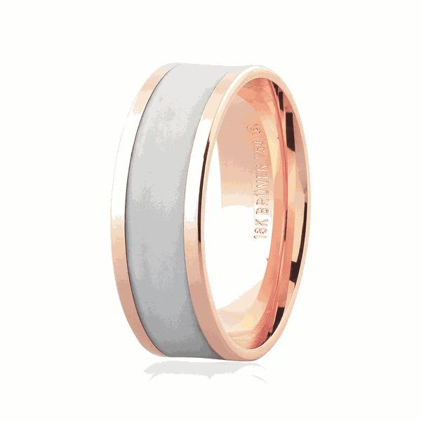 Alianças de Ouro Rosé 18K com Detalhe Pigmentado 7mm