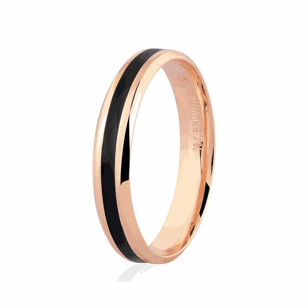 Aliança de Ouro Rosé 18K com Detalhe Pigmentado Negro 4mm