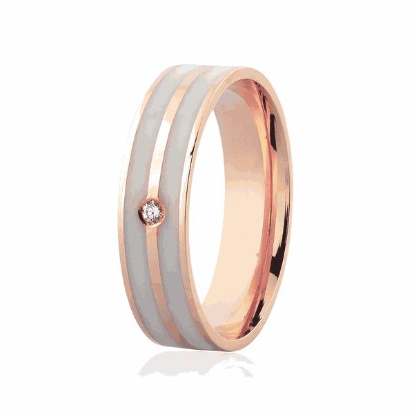 Aliança de Ouro Rosé 18K com Brilhante e Detalhe Pigmentado 5mm