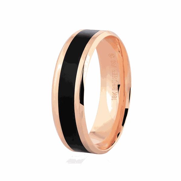Aliança de Ouro Rosé 18K com Pigmento Negro 6mm