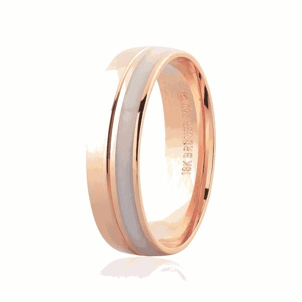 Aliança de Ouro Rosé 18K com Detalhe em Pigmento 5,50mm