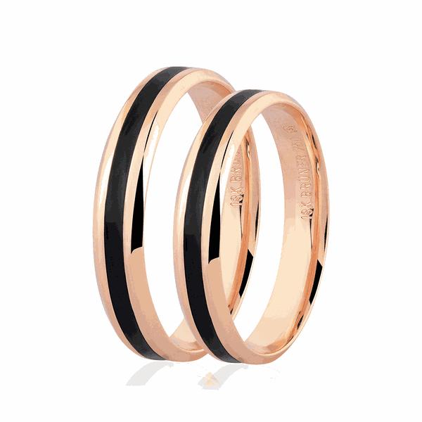 Par de alianças de Ouro Rosé 18K com Detalhe Pigmentado Negro 4mm