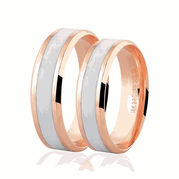 Par de Alianças de Ouro Rosé 18K com Detalhe Pigmentado 6mm