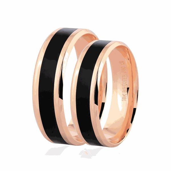 Par de Alianças de Ouro Rosé 18K com Pigmento Negro 6mm