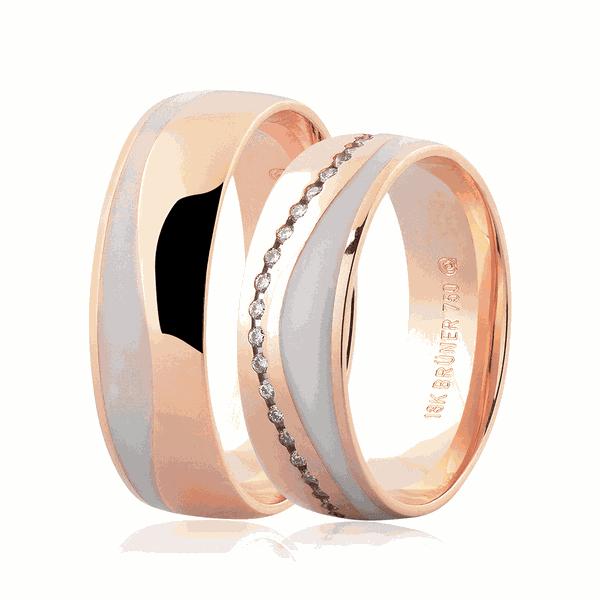 Par de Alianças de Ouro Rosé 18K com Brilhante e Detalhe em Pigmento 6mm