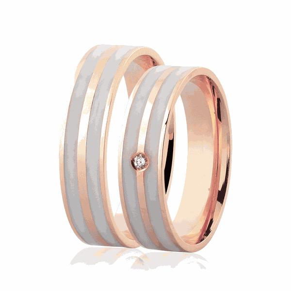 Par de Alianças Ouro Rosé 18K 5mm Detalhe Pigmentado e Brilhante