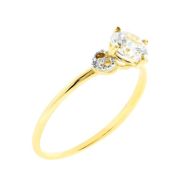 Anel Solitário de Ouro 18K Zirconia e Detalhes Laterais