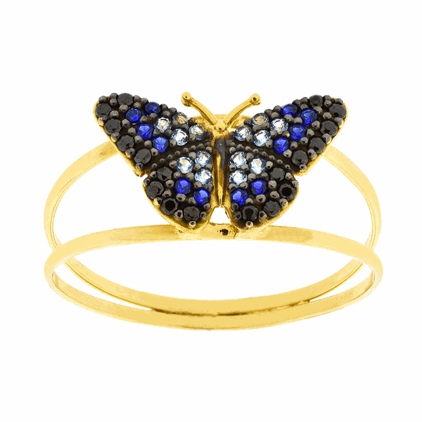 Anel de Borboleta Ouro 18K Pedras de Zircônia Azul Pequeno