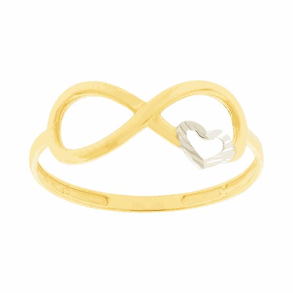 Anel de Ouro 18K Infinito com Coração Bicolor
