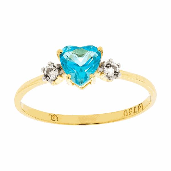 Anel de Ouro 18K com Coração de Topázio Azul
