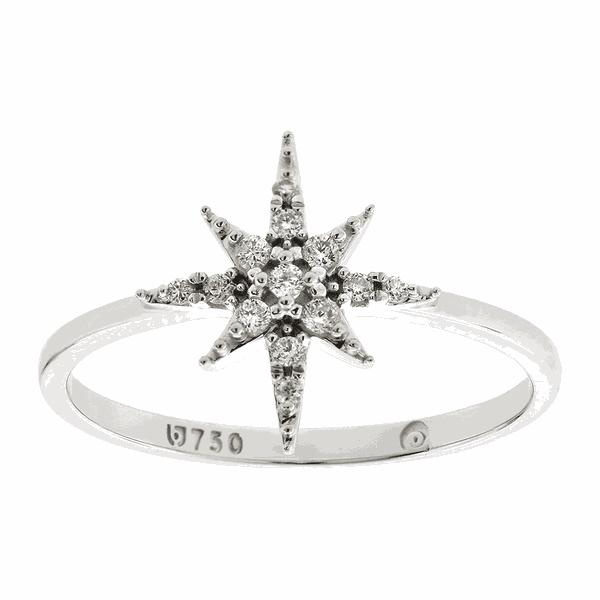 Anel de Estrela em Ouro Branco 18K com Brilhantes