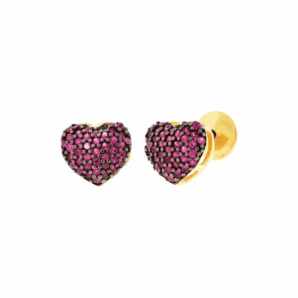 Brinco de Coração Cravejado com Rubis em Ouro 18K
