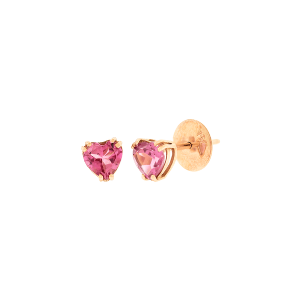 Brinco em Ouro Rosé 18K Coração de Turmalina Rosa